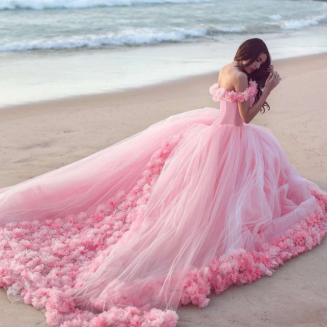eef66c50dd93 Baby Pink Tulle Flowers Quinceanera Dresses Ball Gowns 2018 – CatSmile