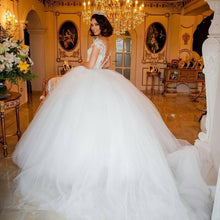 Pearls Beaded Tulle Princess Wedding Dresses Bridal Gowns
