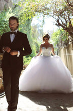 Luxury Crystal Puffy Tulle Wedding Dresses with Sheer Long Sleeves