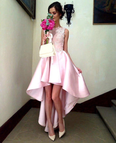 Sleeveless Pink High Low Prom Dresses Long with Lace Appliques