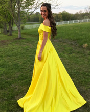 Off the Shoulder Evening Dress with Pockets in Bright Yellow Satin 2018