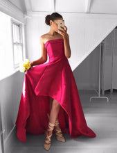 Strapless High Low Satin Prom Dresses Long