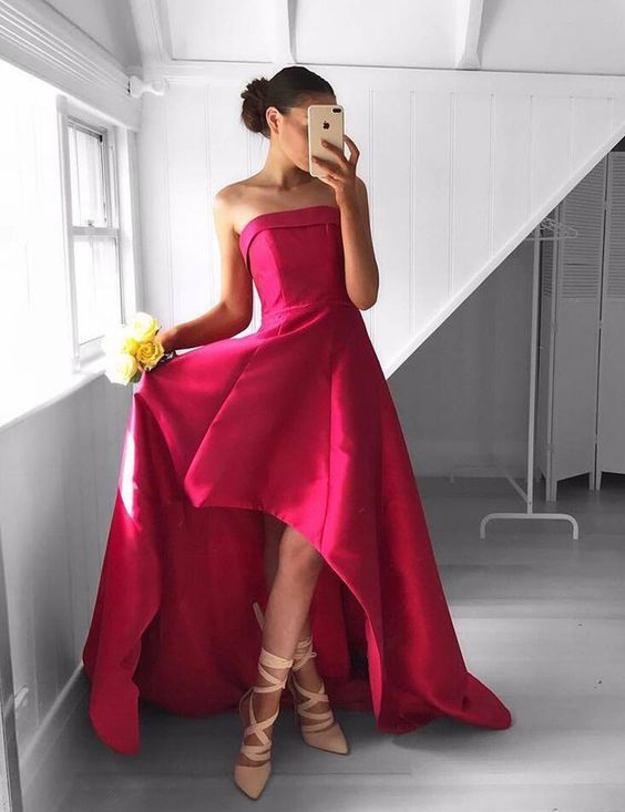 Strapless High Low Satin Prom Dresses Long 2018