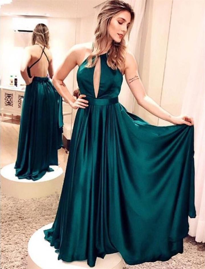 497f98355f412 Long Backless Evening Dresses Emerald Green Satin Sexy Gowns – CatSmile