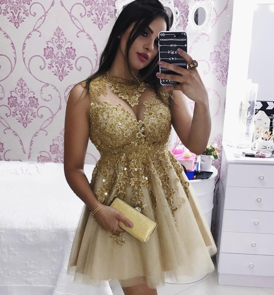 77a3f07120a Sparkly Gold Lace Appliques Short Prom Dresses Mini Cocktail Gowns ...