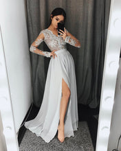Slit Chiffon Evening Dress with Lace Appliqued Sheer Long Sleeves