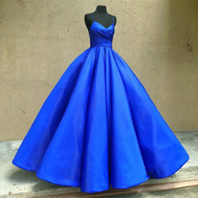 Royal Blue Satin Ball Gown Prom Dresses Spaghetti Straps 2018