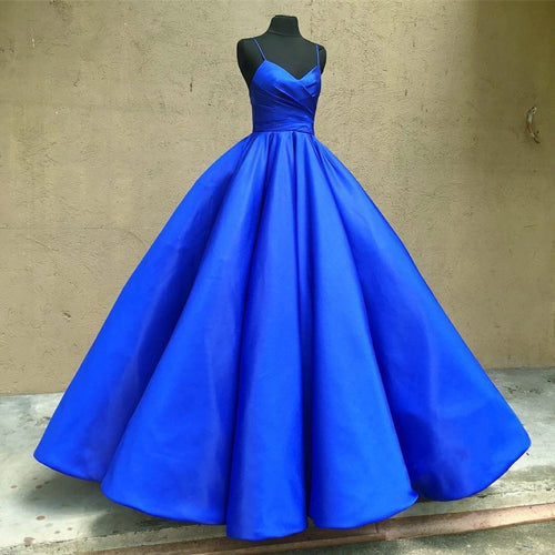Royal Blue Satin Ball Gown Prom Dresses Spaghetti Straps