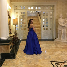 Strapless Puffy Evening Dresses in Royal Blue Satin