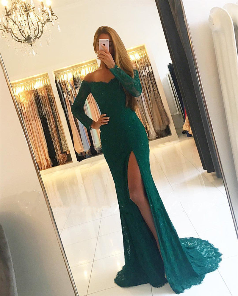 67fa2e11638 Emerald Green Lace Mermaid Evening Prom Dresses with Long Sleeves 2018