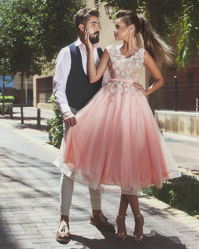 Pink Sleeveless Homecoming Dress Floral Short Prom Gown