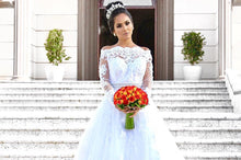 Off-Shoulder Long Sleeves Ball Gown Wedding Dress with Lace Appliques