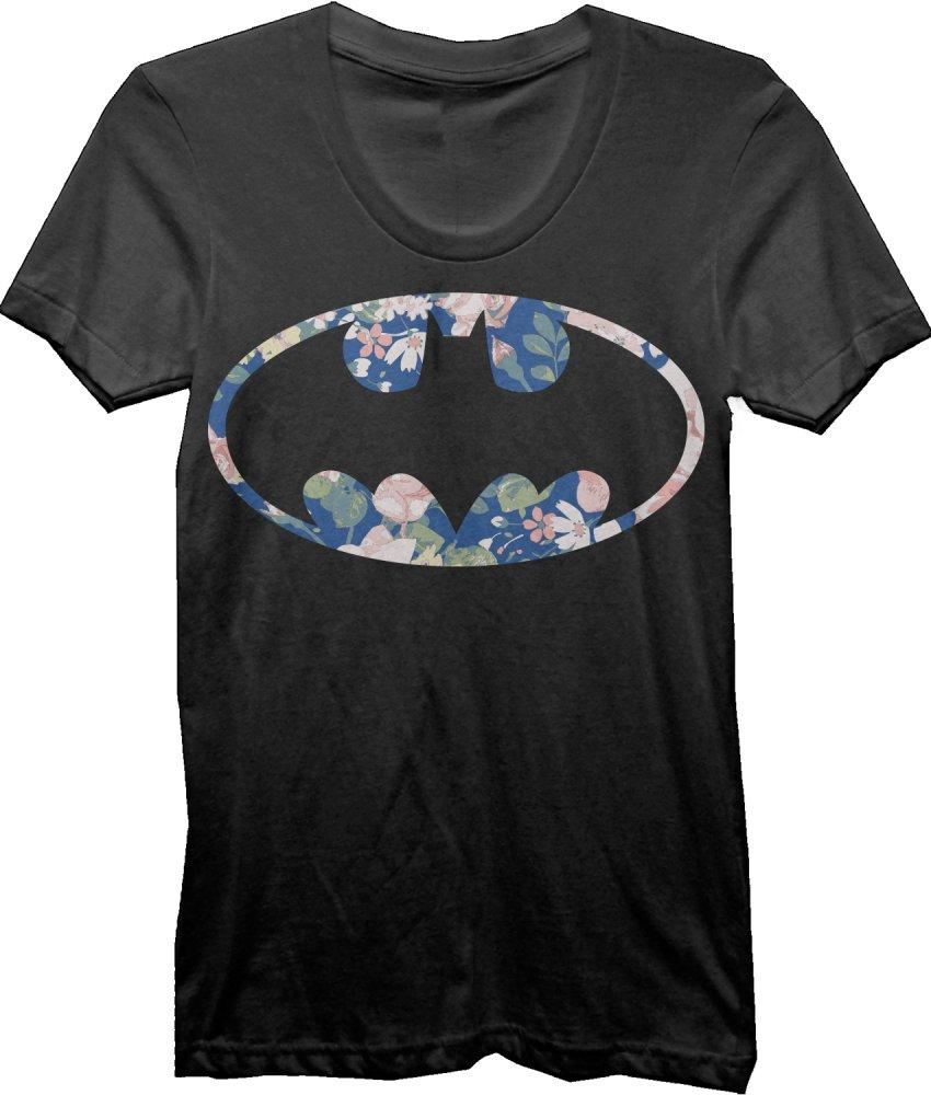 DC Comics Batman Floral Bat Logo Juniors Top T-shirt Tee Shirt