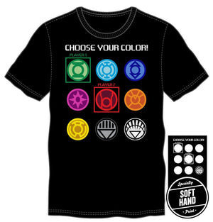 DC Comics Superhero Choose Your Color Gaming Specialty Soft Hand Print Men's Black T-Shirt