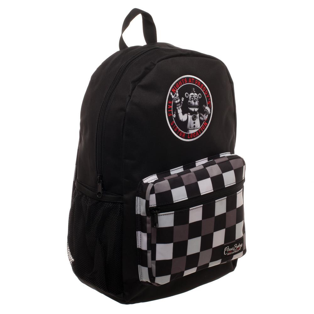 FNAF Black with Checkered Print Backpack, Freddy Fazbear Camera Snapshot Logo, Black Five Nights at Freddy's
