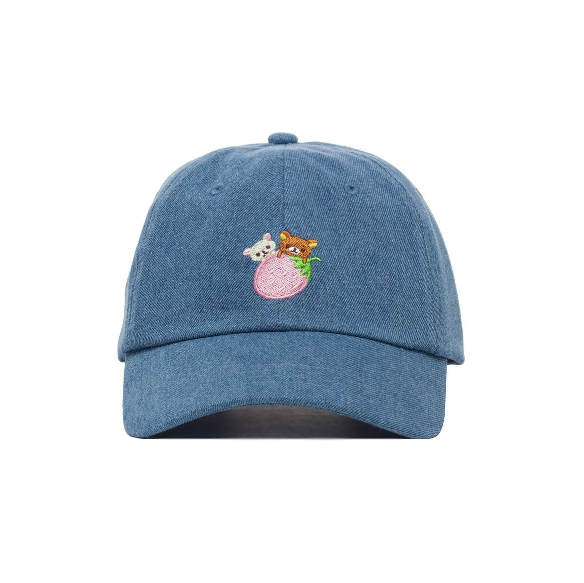 Detail Embroidered JapanLA Rilakkuma Strawberry Denim Hat