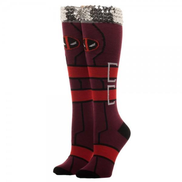 Marvel Deadpool Sequin Cuff Juniors Knee High Socks