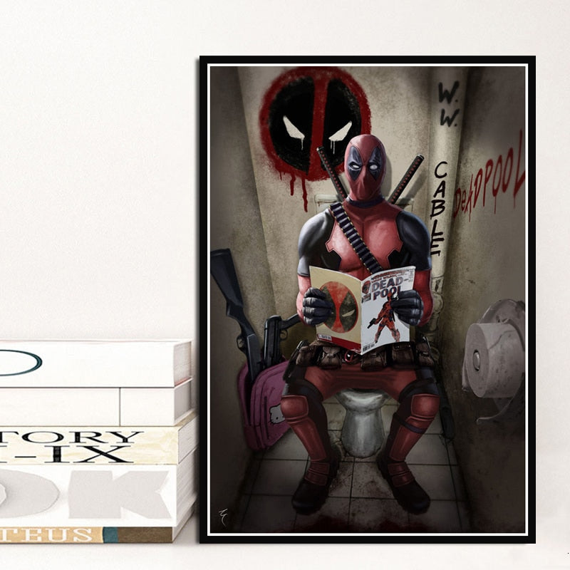 Deadpool Superhero Funny Movie Toilet Posters