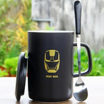 Iron Man Black Ceramic Mug With Lid And Spoon