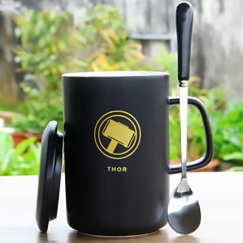 Thor Black Ceramic Mug With Lid And Spoon