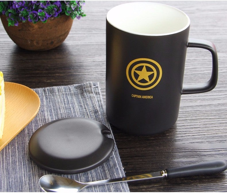 Captain America Black Ceramic Mug With Lid And Spoon