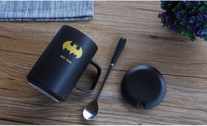 Batman Black Ceramic Mug With Lid And Spoon