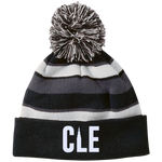 CLE Striped Beanie with Pom