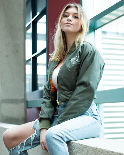 Military Green Womens Cropped Bomber Jacket