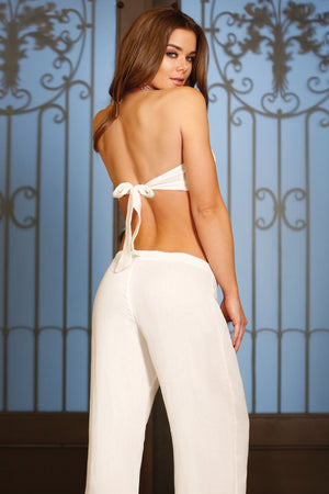 GAUZE BANDEAU WITH DETAILED TRIM