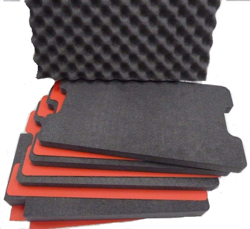 Pelican 1510 Tool Foam Kit, 4 Black Foam Pieces, 3 Red ABS Hard Plastic Pieces, One Red Bottom Foam - Pelican Color Case