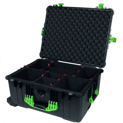 Pelican 1610 Case, Black with Lime Green Handles and Latches