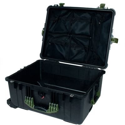 PELICAN 1620 CASE, BLACK WITH OD GREEN HANDLES & LATCHES