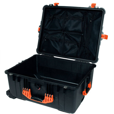 PELICAN 1620 CASE, BLACK WITH ORANGE HANDLES & LATCHES