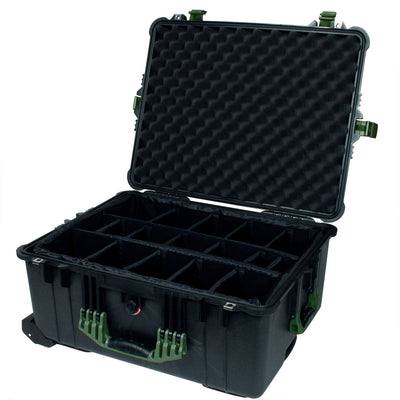 Pelican 1610 Case, Black with OD Green Handles and Latches