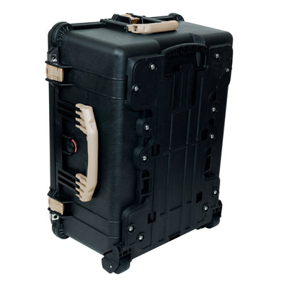 PELICAN 1620 CASE, BLACK WITH DESERT TAN HANDLES & LATCHES