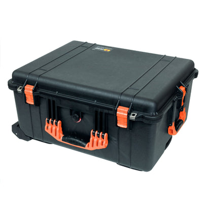 Pelican 1610 Case, Black with Orange Handles and Latches
