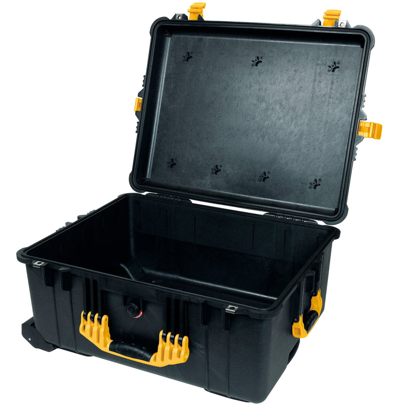 Pelican 1610 Case, Black with Yellow Handles and Latches