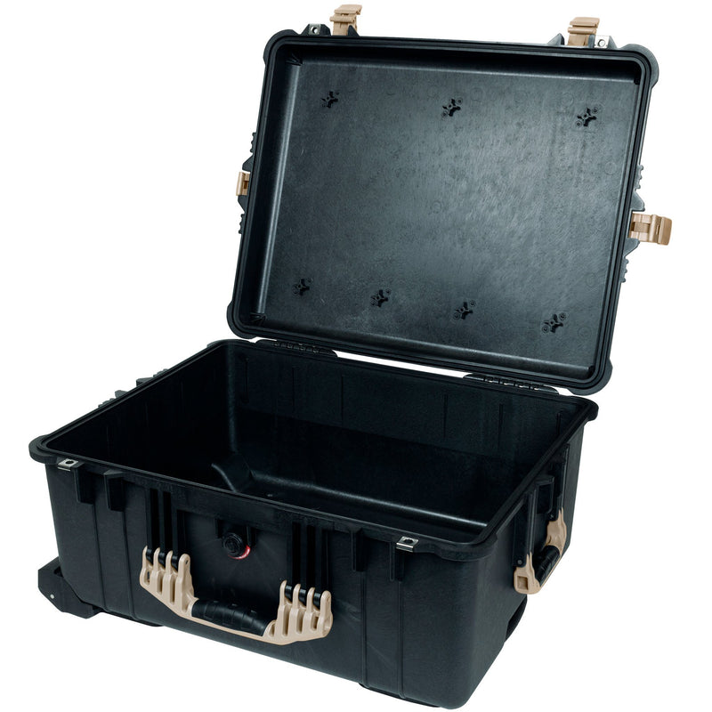 Pelican 1610 Case, Black with Desert Tan Handles and Latches