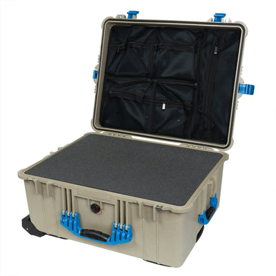 Pelican 1610 Case, Desert Tan with Blue Handles and Latches