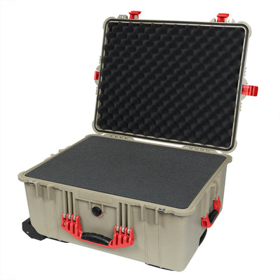 Pelican 1610 Case, Desert Tan with Red Handles and Latches