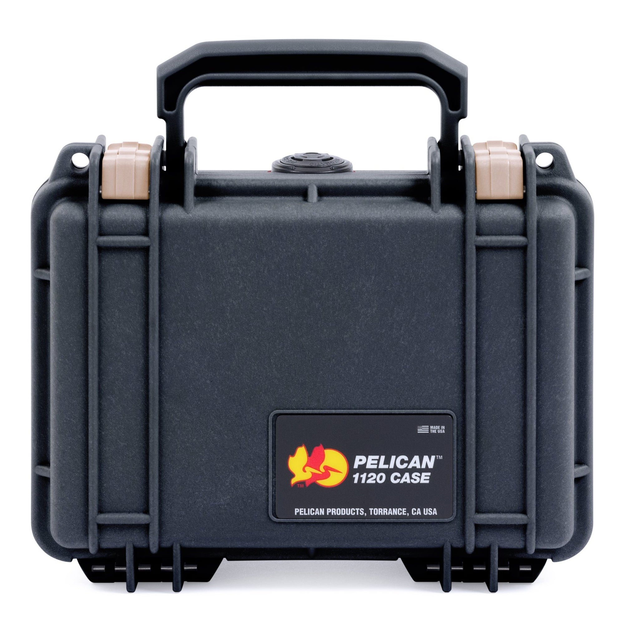Pelican 1120 Case, Black with Desert Tan Latches - Pelican Color Case