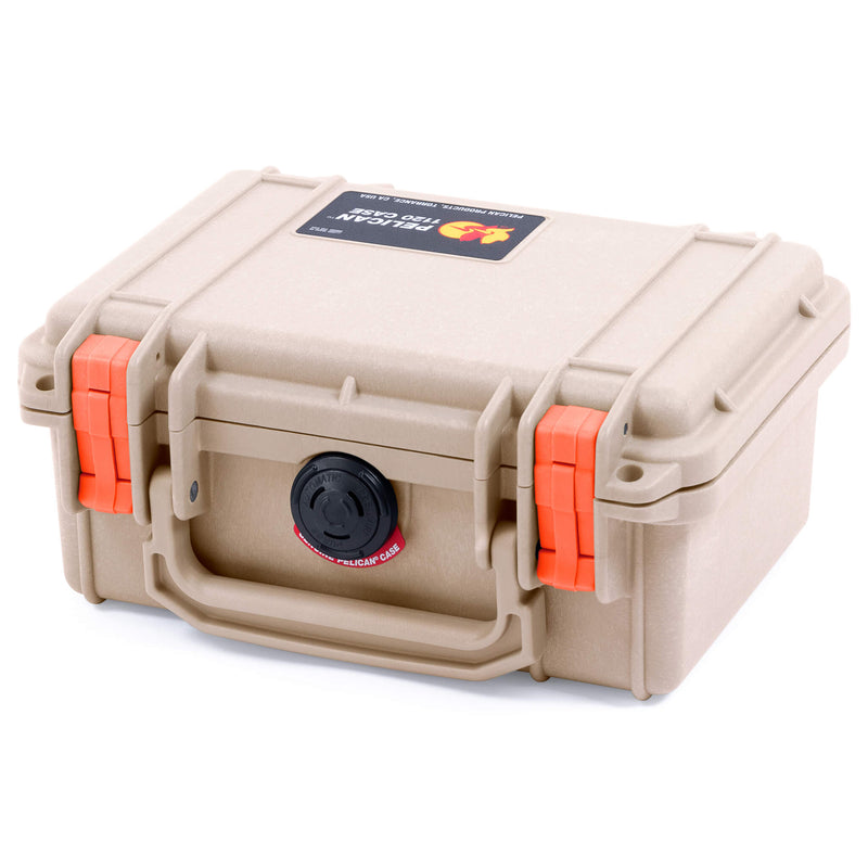 Pelican 1120 Case, Desert Tan with Orange Latches - Pelican Color Case