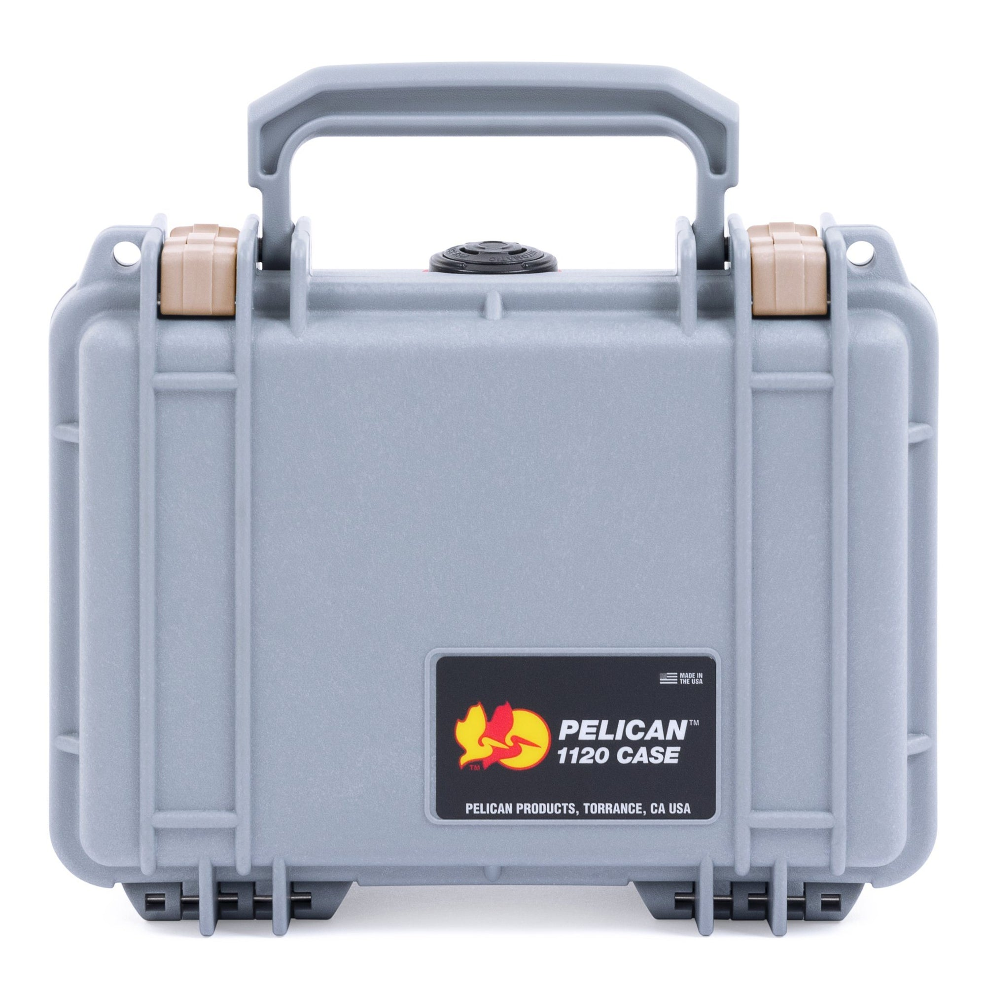 Pelican 1120 Case, Silver with Desert Tan Latches - Pelican Color Case