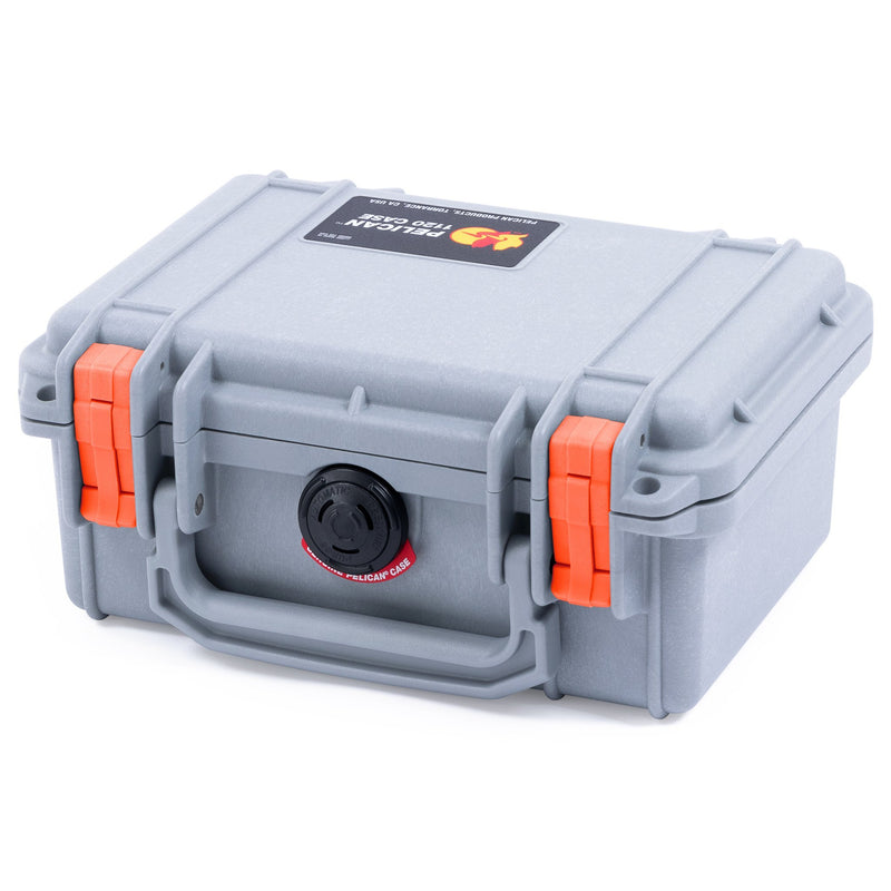 Pelican 1120 Case, Silver with Orange Latches - Pelican Color Case