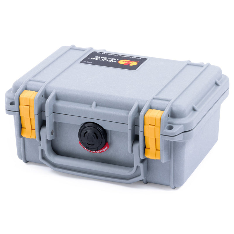 Pelican 1120 Case, Silver with Yellow Latches - Pelican Color Case