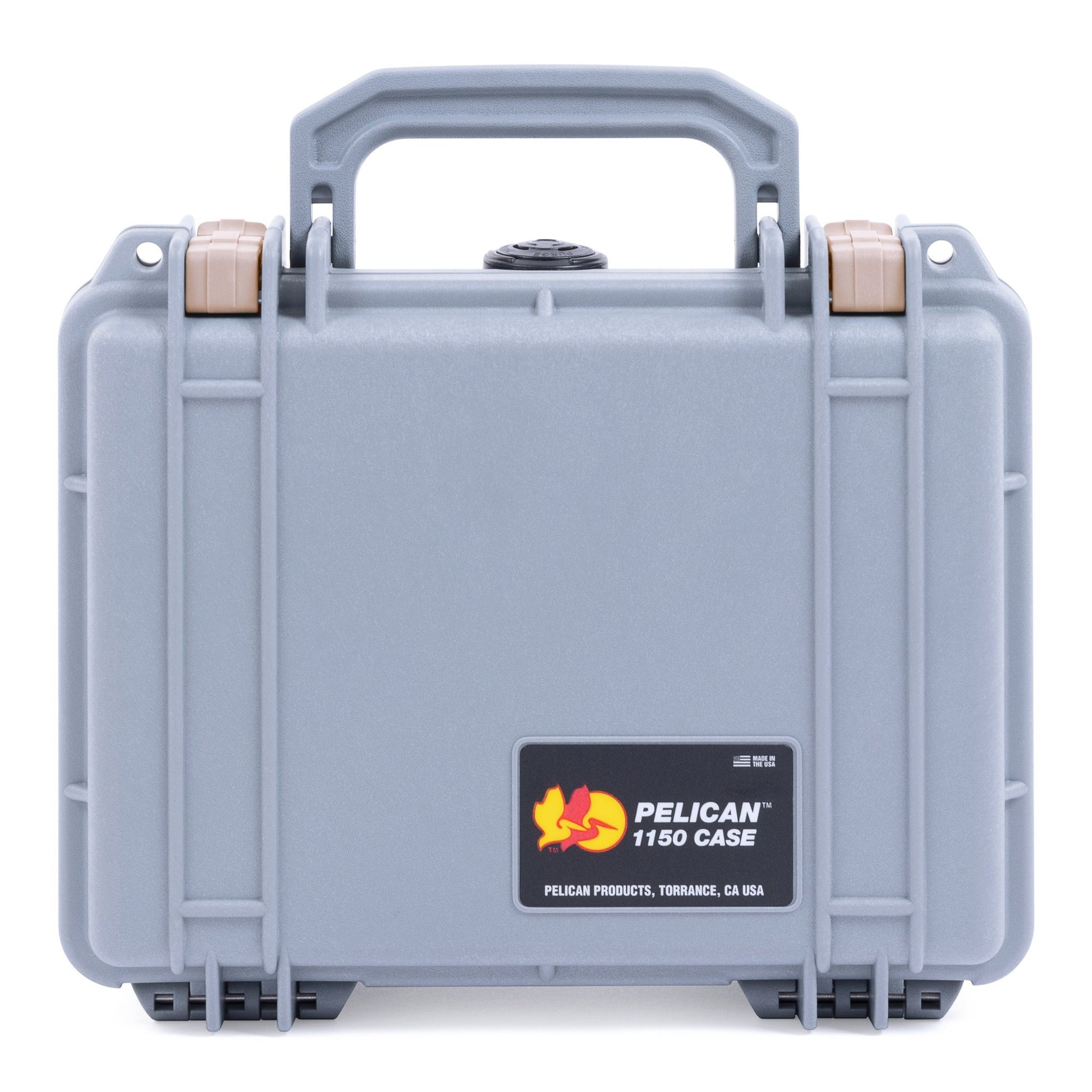 Pelican 1150 Case, Silver with Desert Tan Latches - Pelican Color Case