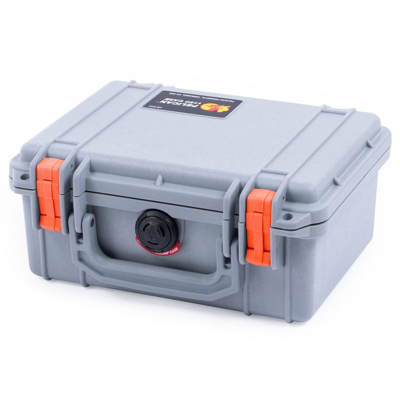 Pelican 1150 Case, Silver with Orange Latches - Pelican Color Case