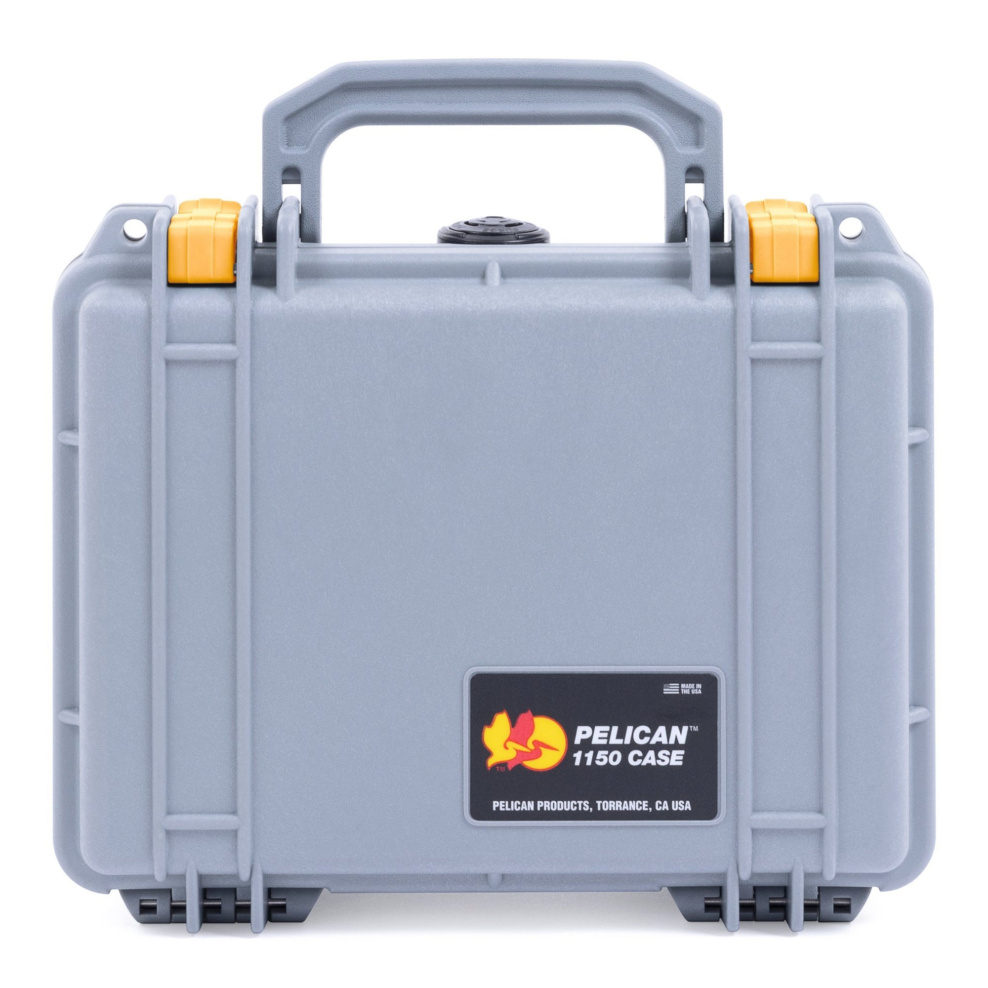 Pelican 1150 Case, Silver with Yellow Latches - Pelican Color Case