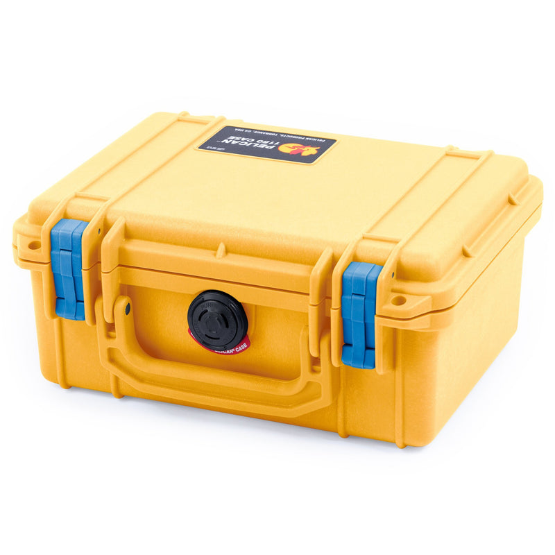 Pelican 1150 Case, Yellow with Blue Latches - Pelican Color Case