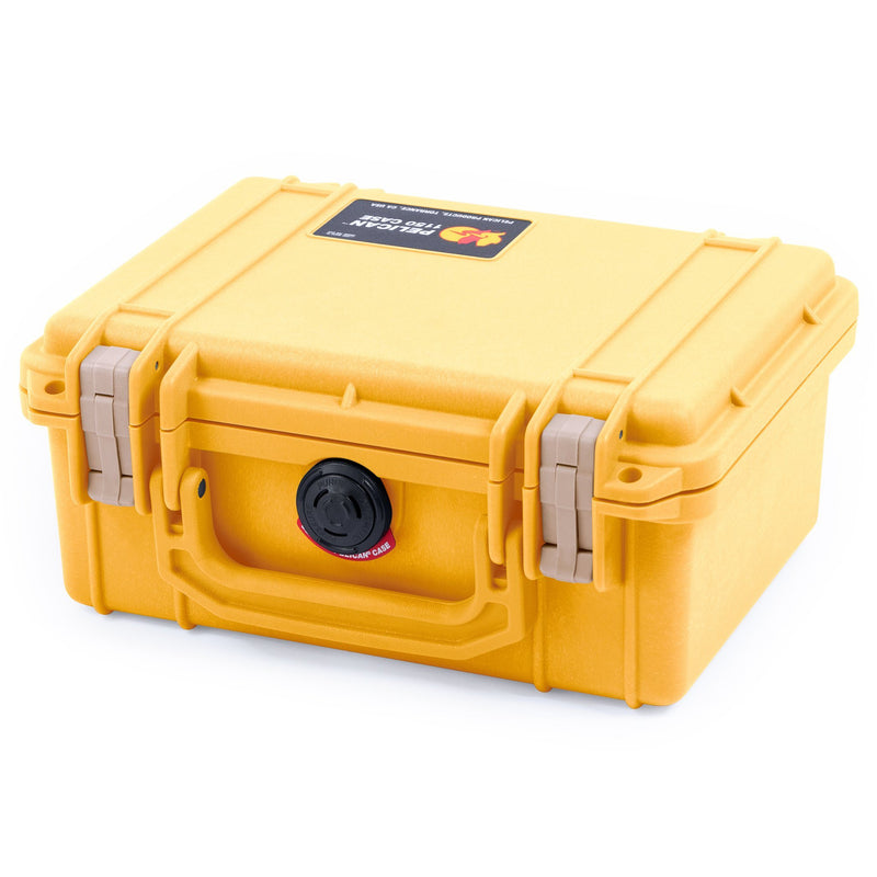 Pelican 1150 Case, Yellow with Desert Tan Latches - Pelican Color Case